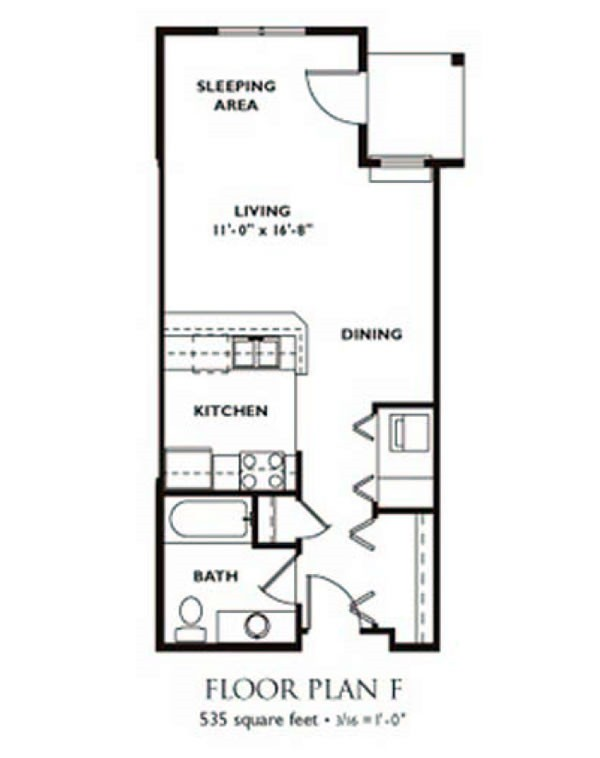Narrow studio apartment floor plans thefloors co for Narrow apartment plans